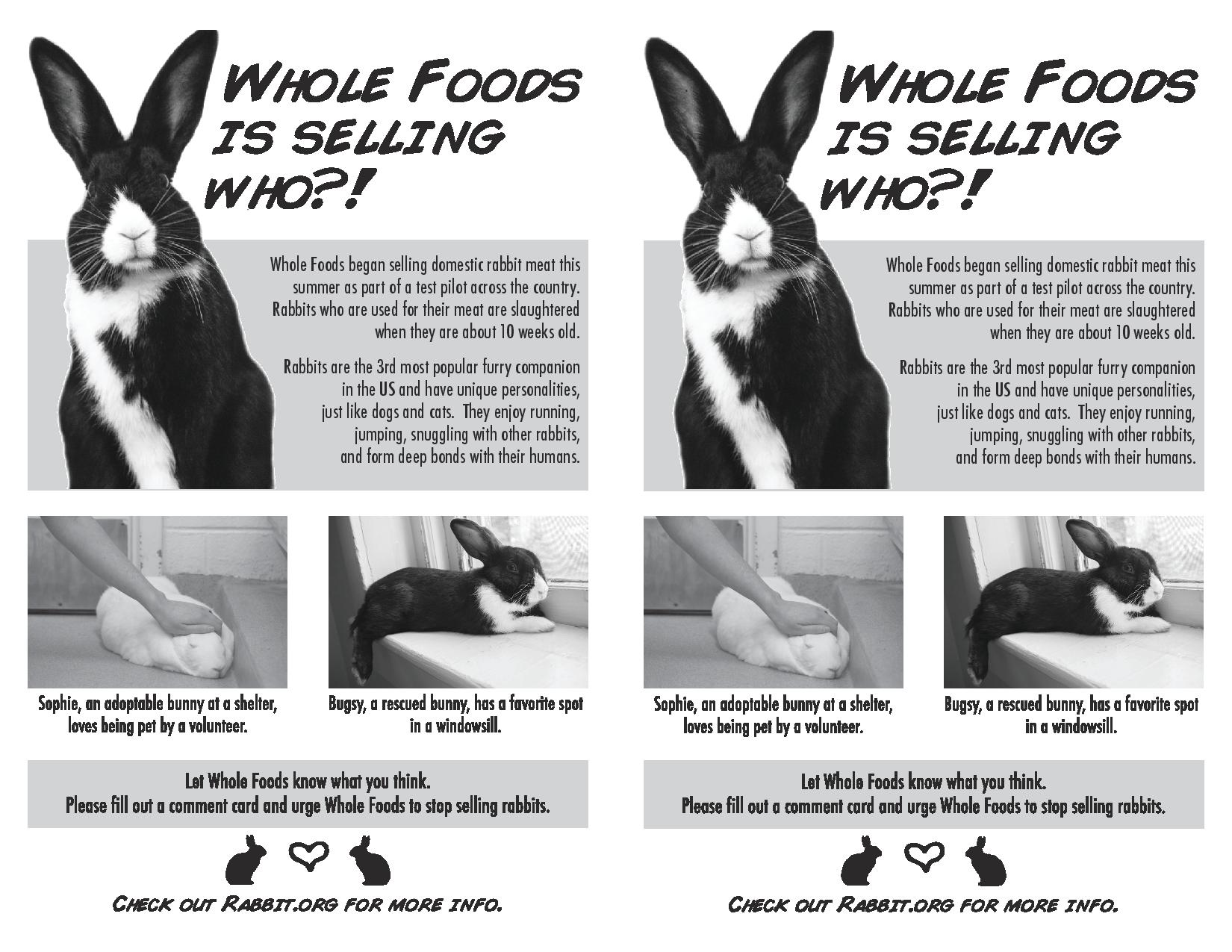 Whole Foods sale of rabbit meat spurs weekend protest plans from