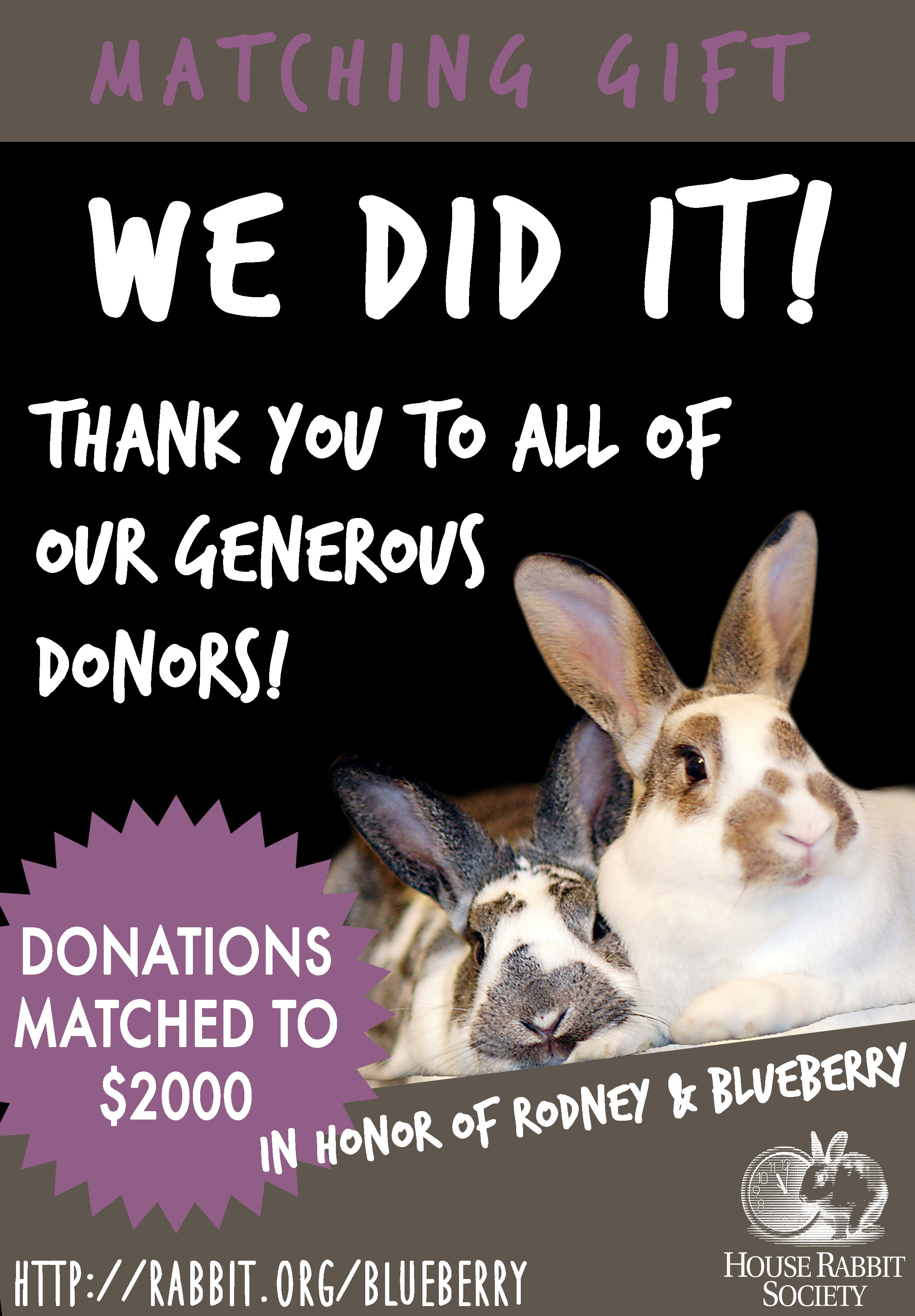 We Did It! All Gifts Matched, in Honor of Blueberry ...