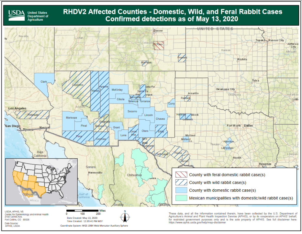Map of southwest US counties with confirmed cases of RHDV2